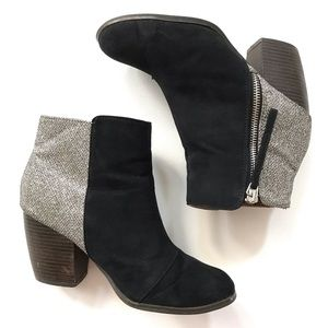 Qupid Size 6 Black and Silver Bootie S4